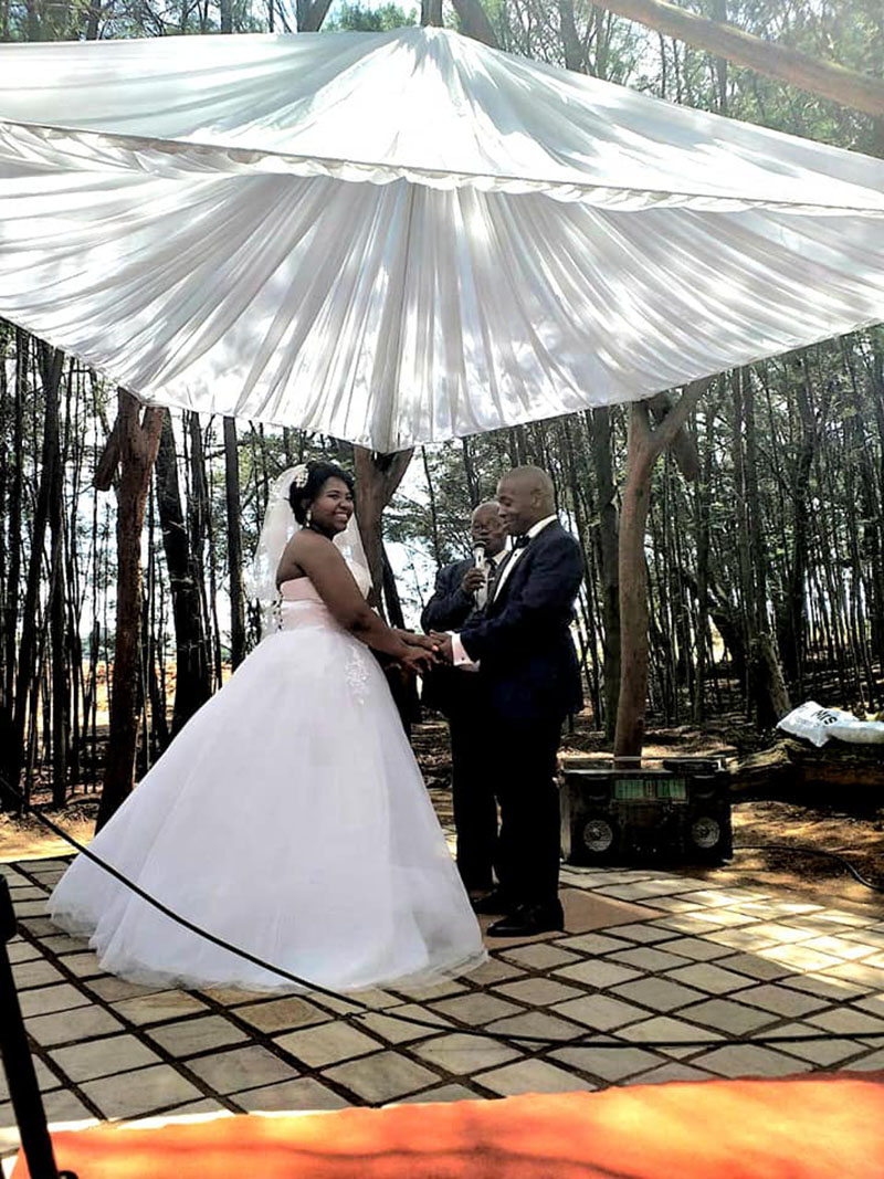 Forest Wedding Chapel Bride and Groom